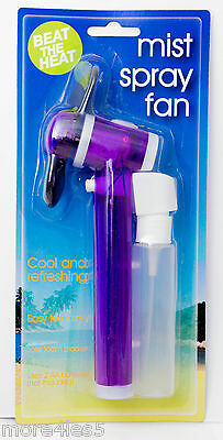 MIST SPRAY FAN Cool Refreshing Hand Held Portable NEW sealed Purple hand held