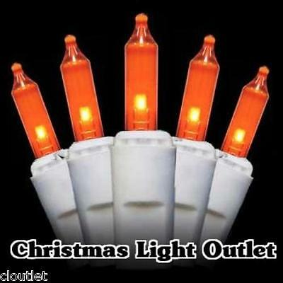 100 Mini Amber/Orange Christmas Outdoor String Lights 23ft White Wire