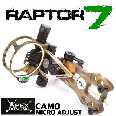 Raptor 7 Compound Bow Sight - Camo - Micro And Tool Less Adjust - Archery