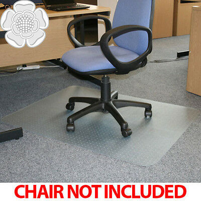 JVL Office Chair Desk Mat Rectangular Carpet Protector 90x120cm PVC with Grips