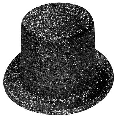 Black Glitter Top Hat -  Fancy Dress Accessories - Party accessory