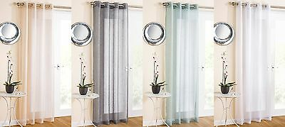 Marrakesh Plain Eyelet Top Ring Top Voile Curtain Single Panel Sparkle Effect