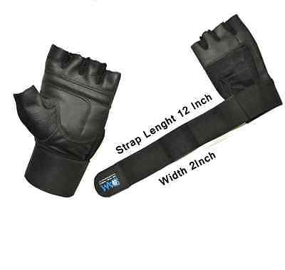 DAM leather weight lifting gloves Gym fitness bodybuilding With Long Strap New