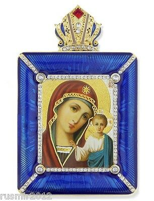 Madonna & Child Virgin of Kazan Framed Icon Ornament With Chain & Stand M-15B-25