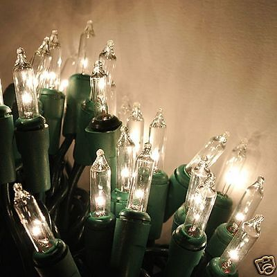 5 STRINGS - 100 Clear Christmas mini lights - Green wire
