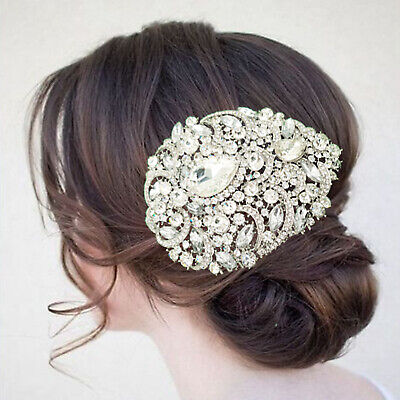 Wedding Luxury Bridal Silver Crystal Party Hair Piece Head Comb Accessories
