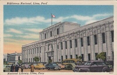 Postcard National Library Lima Peru
