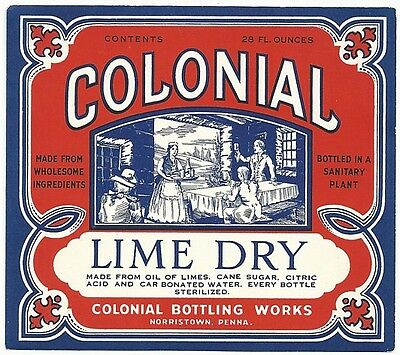 1930's Colonial Lime Dry Label - Norristown, PA