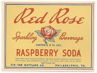 1930's Red Rose Raspberry Soda Label - Philadelphia, PA