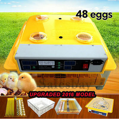 Digital 48 Eggs Incubator Automatic Turner Poultry Chicken Duck Egg Viewing Hole