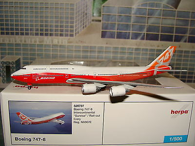 Herpa Wings 1/500 Boeing B747-8 rollout Sunrise Intercontinental **Free S&H**