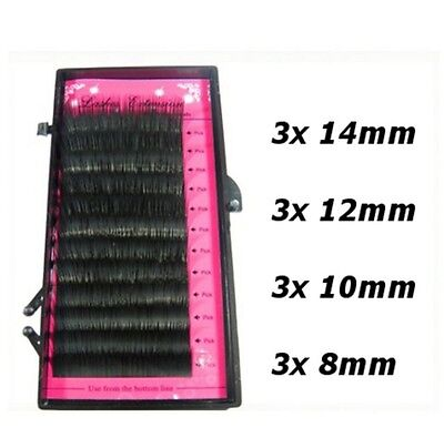 Mix Size Tray Individual Mink False Fake Eyelashes Lashes Extensions Semi Perm