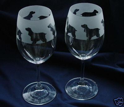 Cocker Spaniel Dog Wine Glasses by Glass in the Forest.