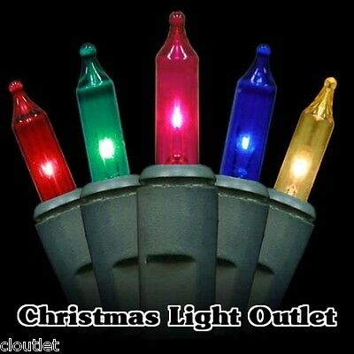 FREE SHIP 50 Mini Multi-Color Christmas Outdoor String Lights 12 foot Green Wire