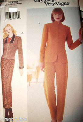 Miss Vogue Sewing Pattern 9703 UNCUT Easy Jacket Wrap Skirt Pants Size 8-10-12