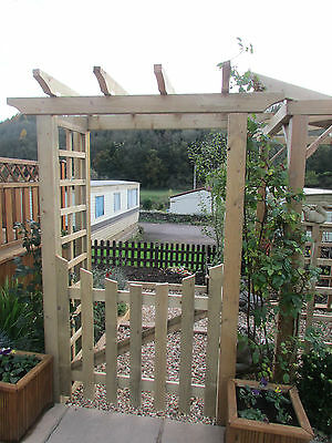 Robust Wooden Timber Garden Arch Entrance Structure with gate & trellis sides