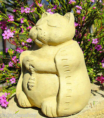 SMALL MEDITATING CAT Stone Kitten Outdoor Buddha Sculpture Statue Art Figure (O)