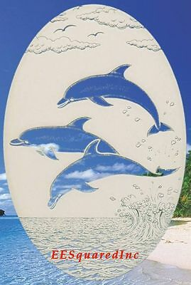 Oval 21x33 DOLPHINS JUMPING WINDOW CLING Etched Glass Look Tropical Door Decal