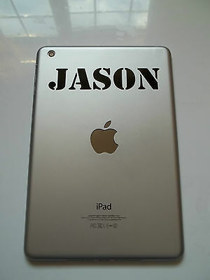 1 x Personalised Name Decal - Vinyl Sticker for iPad Air Stencil Font Custom