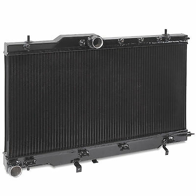 40Mm Black Edition Alloy Race Radiator Rad For Subaru Impreza Wrx Bugeye 01-03