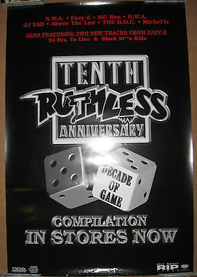 RUTHLESS RECORDS 10th Anniversary promotional poster, 24x36, EX, NWA, Eazy-E