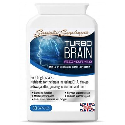 Turbo Brain caps - Super-concentrated Natural nootropic brain food supplement
