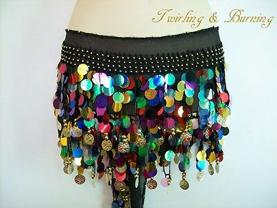 Belly Dance Multicoloured Coin Belt Hip Scarf  Skirt Dancing Costume AB04B