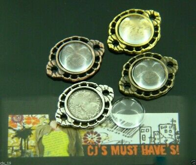10 Small Round Silver Gold Bronze Pendant Setting With 10Mm Glass Dome Cabochons