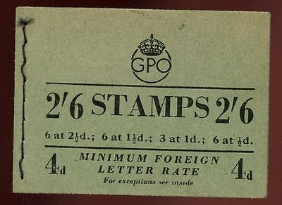 GB KGVI/QE2 Composite Stitched Booklet 2/6 SG F6 Sept 1953 15mm PPP