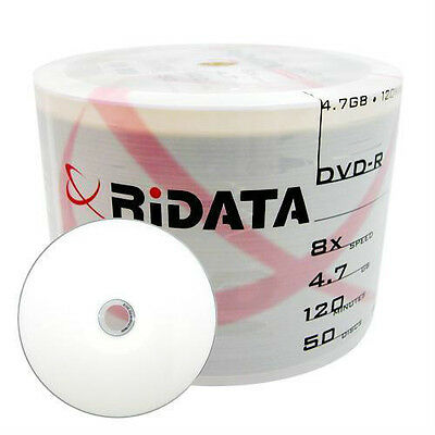 600-pack Ridata 8x DVD-R White Inkjet Hub Printable Blank Recordable DVD Media