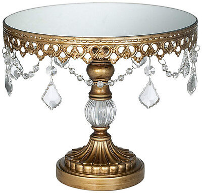 """Antiqued Gold Metal 8.5"""" High Cake / Cupcake Stand Plate w/ Mirror Top"""
