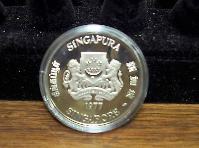 Singapore 1977 10 Dollar Coin Silver Proof Commomerative 10th Year Independence