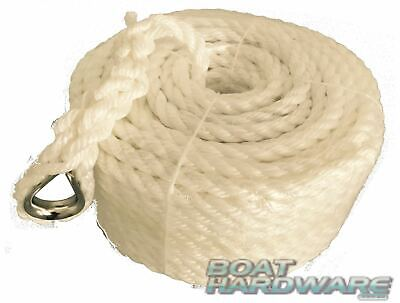 Silver Anchor Boat rope Mooring line 12mm braid x 50m stainless steel thimble