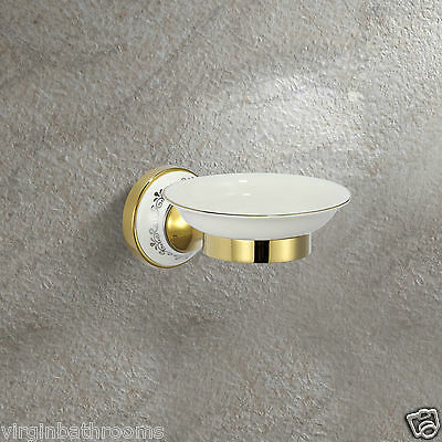 Gold Victorian Style Solid Brass Ceramic Bathroom Round Soap Dish Holder