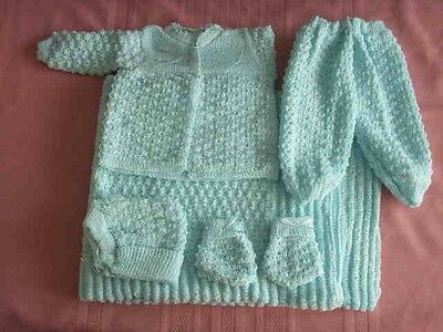 6 pc Crochet Baby Set popcorn style Blanket Pants Sweater Hat Booties - blue