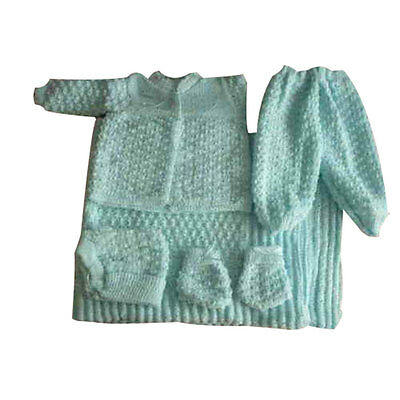 6 pc Crochet Baby Set popcorn style Blanket Pants Sweater Hat Booties - aqua