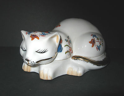 Lenwile Ardalt Artware Bone China Sleeping Cat Box Flowers,Butterflys Hand Paint