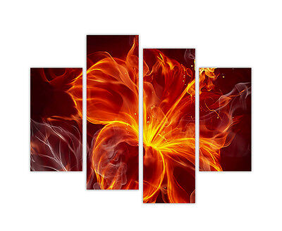 """LARGE CANVAS PRINTS ABSTRACT RED BURNING ROSE WALL ART 4 PANEL 35""""(90cm) XXL"""