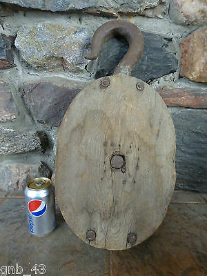 """Large 21"""" Vintage Wood & Cast Iron Block & Tackle Pulley Barn Decor"""