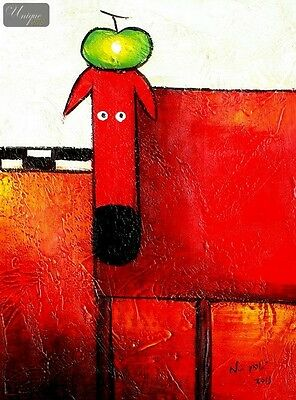 """Pop Art - The Funny Red Dog  12X16  """" Oil Painting Painted By Hand"""