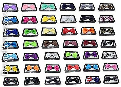NEW  Adult Tuxedo Classic BowTie Pure Plain Neckwear Adjustable Men's Bow Tie