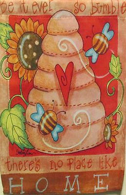 """Mini Beehive Summer Garden Flag There's No Place Like Home Decorative 12.5"""" x18"""""""