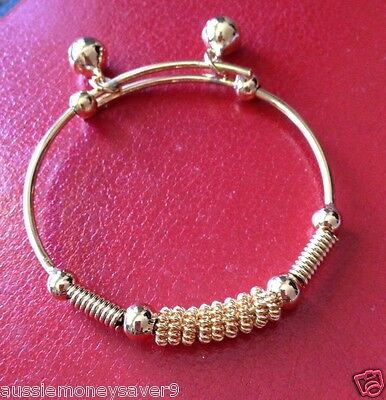 18k solid gold fill baby BOY GIRL children toddler bangle bracelet FREE gift bag