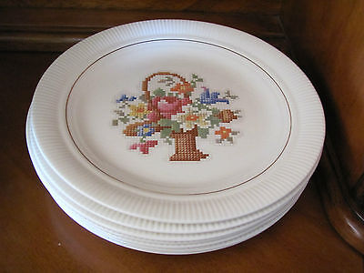 Salem lot of 7 dinner plates Basket PP Petit Point USA