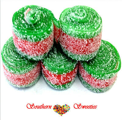 Fini Watermelon Rollers Red & Green Candy Belts Lollies Wrapped