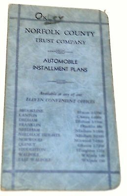 1951 Norfolk County Trust Co Auto Installment Plans Booklet