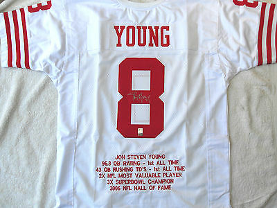 Steve Young Signed Sf 49Ers Stat Jersey Gtsm Witnessed Coa Young Hologram