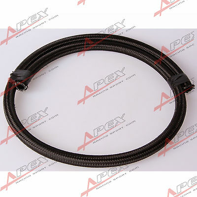 Black NYLON cover braided 1500 PSI -6AN AN6 Oil Fuel Gas Line Hose Foot