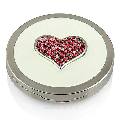 Engraved Handbag Compact Mirror Pink Heart Crystals Personalised Ladies Gift NEW