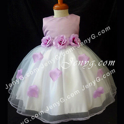 #HM01 Flower Girls/Pageant/Christening/Formal Gowns Dresses, Purple 0-24 Months